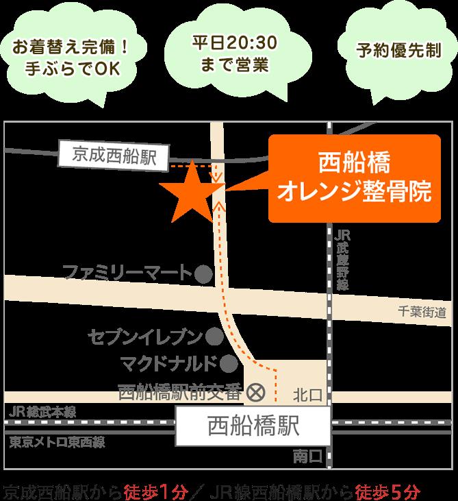 西船橋オレンジ整骨院の地図